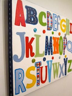 Madras ABC's Kids Wall Art 11x14 by CuteAsAButtonArt on Etsy, $35.00