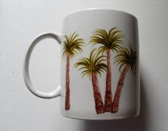 Palm Tree Crock Hand Painted Large Palm Tree by LisasPaintedCrafts