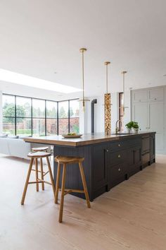 London-based Kinnersley Kent Design mixes wood counter top with stone around sin… - Kitchen - Best Kitchen Decor! Open Plan Kitchen Living Room, Kitchen Dining Living, Home Decor Kitchen, My Living Room, Interior Design Kitchen, New Kitchen, Kitchen Ideas, Interior Livingroom, Interior Plants