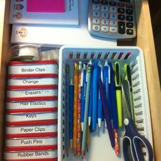 Junk drawer organization using Altoid tins