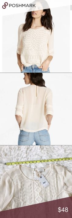 💕Lucky Brand Embroidered Blouse NWT Lucky Brand Size Small Beautiful detail embroidery  Ivory  Sheer Back: keyhole with button  100% VISCOSE Machine Wash Cold With Like Colors Do Not Bleach Lay Flat To Dry Cool Iron Do Not Dry Clean  ▫️Measurements in photos ▫️Care/materials in photos   💜My home is smoke and pet free Lucky Brand Tops Blouses