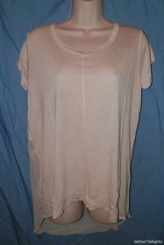 NEW URBAN OUTFITTERS L TOP Sparkle & Fade Chiffon Back Tee Ivory Hi Low High