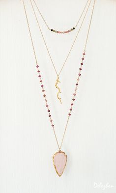 Multi-Colored Tourmaline Necklace Bar Necklace by delezhen