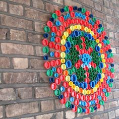 Recycled Lids and Bottle Caps Collaborative Art Project Ideas for kids — ROWDY RASCALS These recycled lids and bottle cap art project ideas are simple amazing and will give you so much inspiration for your next trash to treasure project. Bottle Top Art, Bottle Top Crafts, Bottle Cap Projects, Bottle Caps, Plastic Bottle Tops, Plastic Bottle Crafts, Plastic Art, Recycled Art Projects, Recycled Crafts
