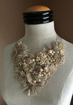 MINERVA Pearl Textile Statement Necklace by carlafoxdesign on Etsy Fiber Art Jewelry, Textile Jewelry, Fabric Jewelry, Beaded Jewelry, Unique Jewelry, Fabric Flower Necklace, Fabric Garland, Homemade Jewelry, Antique Lace