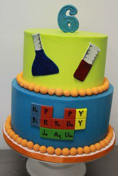 Kids Birthday Cakes « Sweet & Saucy Shop Sweet & Saucy Shop can be for a chemist student. Science Cake, Mad Science Party, Weird Science, Big Cakes, Happy Birthday Cakes, Specialty Cakes, Creative Cakes, Party Cakes, Cupcake Cakes