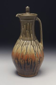 Jon Arsenault  |  Lidded pitcher with ash glaze.