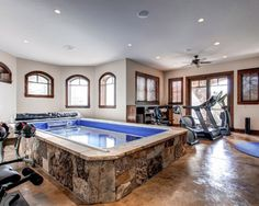 Trendy home gym interior design indoor pools ideas Dream Home Gym, Gym Room At Home, Best Home Gym, Home Gym Design, House Design, Indoor Gym, Indoor Pools, Indoor Jacuzzi, Gym Interior