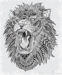 Hand Drawn Abstract Lion Vector Illustration - Download From Over 46 Million High Quality Stock Photos, Images, Vectors. Sign up for FREE today. Image: 41398671 #adultcoloring #coloring #mandala