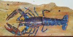 bleu bois | homard bleu sur bois flotté (vendu)