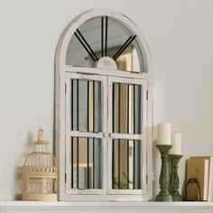 Faux Window Wood Wall Mirror