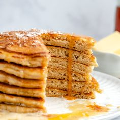 Delicious, fluffy salted brown butter pancakes with hints of warm, caramel-like flavor in every bite. These luxurious brown butter pancakes feel fancy but are incredibly easy to make. Add your favorite mix-ins and toppings for a wonderful breakfast or brunch! #pancakes #breakfast #brunch #brownbutter Butter Pancakes, Pancakes And Waffles, Yummy Pancake Recipe, Pancake Recipes, Breakfast Recipes, Dinner Recipes, Quinoa Bars, Unsweetened Almond Milk, Frozen Blueberries