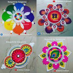 Easy Rangoli Designs Videos, Simple Rangoli Designs Images, Rangoli Kolam Designs, Colorful Rangoli Designs, Beautiful Rangoli Designs, Mehndi Designs, Special Rangoli, Colored Sand, Art Forms