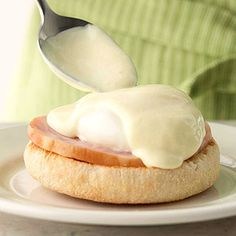 Mock Hollandaise sauce saves time and stress of starting from scratch. This breakfast or brunch special can be made ahead.