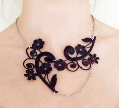 lace necklace  steampunk lace bib  black gothic by LaceFancy, $13.99