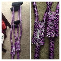 Crutch in style! Easy DYI craft. Custom decorated crutches. You can get funky duct tape at Staples or Michael's. They come in a ton of different colors and patterns. You can get rhinestones at any craft store. For extra comfort and design appeal you can order nice padding in pretty much any color off of amazon.