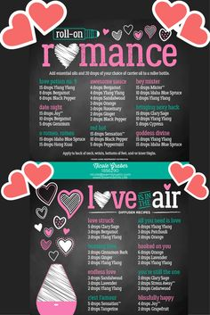 Excellent DIY essential oil diffuser and roller bottle blends for love and romance... perfect for Valentines Day and date nights!