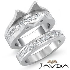 2.1 Ct Diamond Princess Channel Engagement Ring Round Bridal Set 14K White Gold ($4,230)
