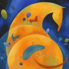 My Treasures do not Clink Together or Glitter: they Gleam in the Sun and Neigh in the Night. Open edition Giclee print by Tracie Grimwood. Art Jaune, Fantasy Character, Art Mignon, Horse Illustration, Yellow Art, Naive Art, Equine Art, Horse Art, Cat Art