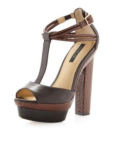 Parton T-Strap Platform, Dark Brown by Rachel Zoe at Last Call by Neiman Marcus.