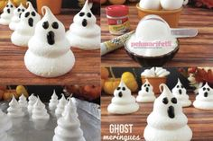 The ghost-shaped meringue recipe With very few ingredients .- How to make wonders in the kitchen with very little ingredients! Ingredients 3 egg white 1 cup powder sugar 1 pinch salt Black j . How to make ghost shaped meringue? How To Make Ghosts, Easy Halloween Food, Few Ingredients, Powdered Sugar, Frozen, Diy Crafts, Shapes, Desserts, Cake