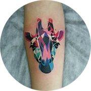 Small Giraffe Tattoo Design: On Calf in Color