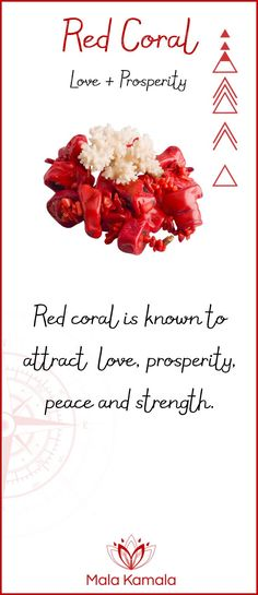 What is the meaning and crystal and chakra healing properties of red coral? A stone for love and prosperity.