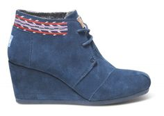 Navy Embroidered Desert Wedge | TOMS.com #toms #somethingblue
