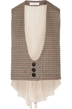 CHLOÉ Houndstooth stretch-wool and silk crepe de chine vest  AU$1,417.22 https://www.net-a-porter.com/products/608405