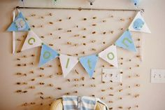 Elephant Birthday Party name banner and peanut backdrop || Lula Bella via Hostess with the Mostess. CupKate Photography.