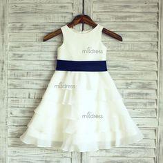 11e12203487 Boho Beach Ivory Chiffon Cupcake Flower Girl Dress with navy blue purple  sash