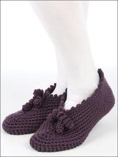Crochet Accessories - Crochet Slipper & Sock Patterns - Pretty Pleats Design -- Free Crochet Slipper Pattern