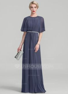A-Line/Princess Scoop Neck Floor-Length Ruffle Lace Beading Zipper Up Covered Button Sleeves 1/2 Sleeves No Stormy General Plus Chiffon Height:5.7ft Bust:33in Waist:24in Hips:34in US 2 / UK 6 / EU 32 Mother of the Bride Dress