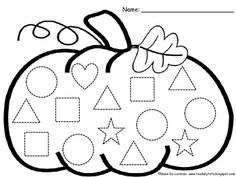 This pumpkin shape trace, count, and graph is perfect for little ones to practice fine motor, one-to-one correspondence, visual perception. Fall Preschool, Preschool Worksheets, Kindergarten Math, Preschool Activities, Preschool Shapes, Halloween Worksheets, Shape Activities, Autumn Activities, Halloween Themes