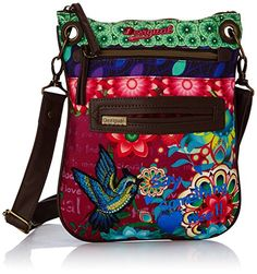 Desigual Bandolera Paulina Woman Woven Cross Body Bag, Passionfruit, One Size Desigual