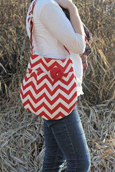 Chevron Zig Zag Red Print Cross Body Handbag by SweetDaisyDesigns, $34.99