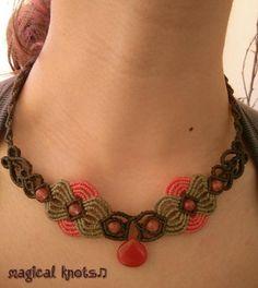 Macrame necklace with cherry quartz stones