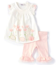 Bonnie Baby Girls Lime Pink Floral Print Ruffle Tiered Tie Accent Romper 3-24M