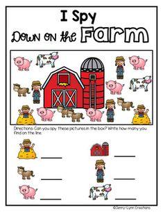 I Spy: Down on the Farm Freebie by Jenny-Lynn Creations Farm Animals Preschool, Preschool Learning, Teaching, Farm Activities, Animal Activities, Map Nursery, Nursery Rhymes, Farm Lessons, Farm Day