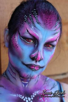 Sea creature face paint by Sammie Bartko.  I airbrushed the base on myself and finished with brush details.
