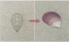 Как вышить гладью лепесток, пошаговый мастер-класс по вышивке гладью    Embroidery tutorial, how to embroider a petal