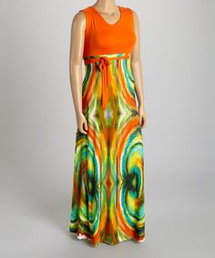 Another great find on #zulily! Orange & Green Abstract Sash Maxi Dress - Plus #zulilyfinds
