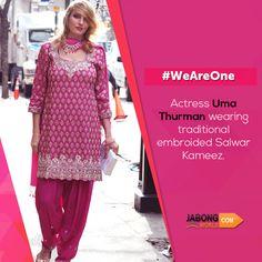 Gorgeous Uma Thurman wearing traditional Indian ethnic wear.  #WeAreOne #Hollywood #Bollywood #AmericanActress #UmaThurman