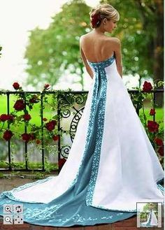 wedding dresses blue and white