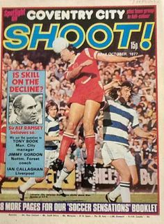magazine for October 1977 featuring QPR v Leicester City on the cover. Magazine Front Cover, English Football League, Coventry City, Leicester, Foxes, Glasgow, Liverpool, Celtic