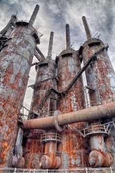 Abandoned Places - Factory Industrial Stack Abandoned factory industrial stack that is completely ru Abandoned Buildings, Old Buildings, Abandoned Places, Abandoned Train, Abandoned Homes, Abandoned Castles, Haunted Places, Bg Design, Abandoned Factory