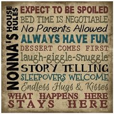 Instead of nonas it needs to say Grammy's house rules