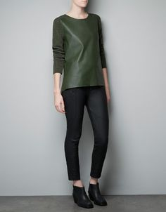Might make a trip to Zara this weekend!  FAUX LEATHER SWEATER - Knitwear - Woman - ZARA Spain