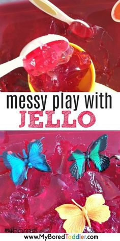 play with Jello / Jelly for toddlers messy play with jello. a fun sensory bin for babies, toddlers and preschoolers. The perfect messy play activity! Baby Sensory Play, Sensory Activities Toddlers, Sensory Bins, Infant Activities, Baby Play, Summer Activities, Creative Activities For Toddlers, Sensory Games, Sensory Boards