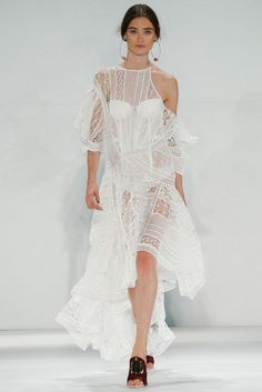 Zimmerman- Starts the collection with a pretty lace dress than begins to deconstruct the collection piece by piece until all that's left is layers of beautiful fabrics deconstructed to make a statement of confidence and beauty. #nyfw Share what's your favorite shows from Spring 2015 at thestyleweaver.com !